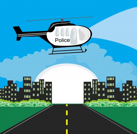 patrolling: Police helicopter patrolling the city at night
