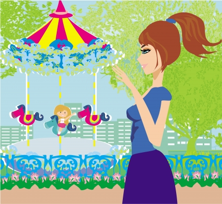 child playing on the carousel  Vector