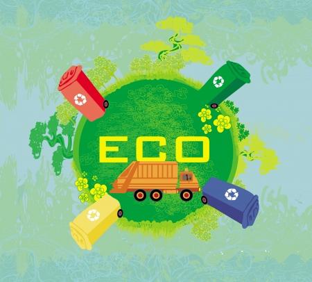 segregation: ecology card design, segregation of garbage