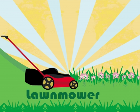 push mower: Lawn Mower With Grass - abstract card