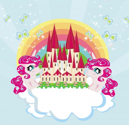 Card with a cute unicorns rainbow and fairy-tale princess castle  Vector
