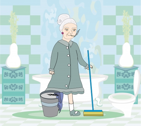 homemaker: cartoon character housemaid with mop Illustration