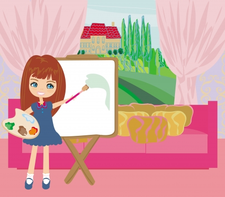 Little artist girl painting landscape from the window Vector