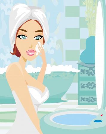beautiful young woman applying moisturizer  Vector
