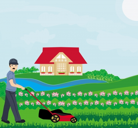 backyard work: A vector illustration of a man mowing the lawn  Illustration