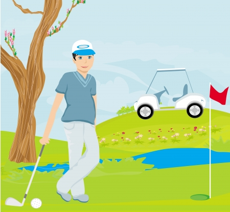 putter: Man playing golf  Illustration