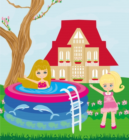 little girl in outdoor pool  Vector