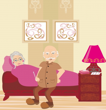 elderly sick woman lying in bed Vector