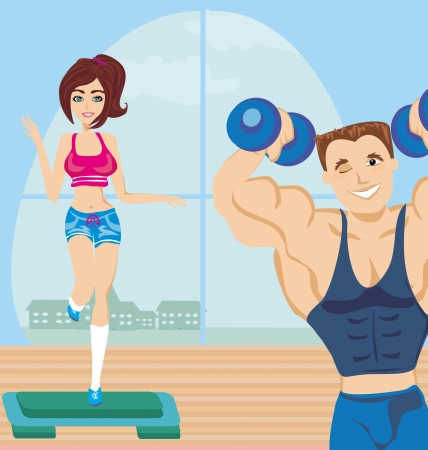 man and woman exercises in the gym  Illustration