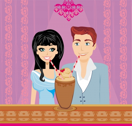 Young couple flirt and drink coffee illustration  Vector