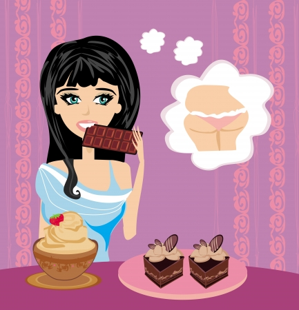 eats: girl eats sweets thinking about getting fat  illustration