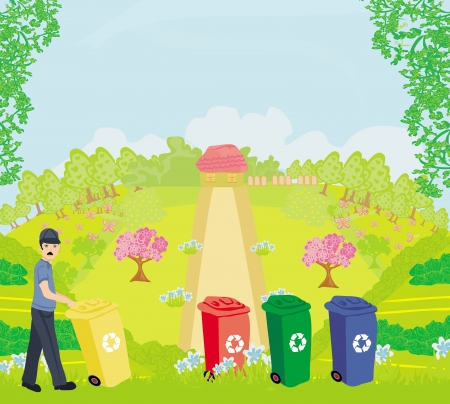 cleaning earth: Colorful recycle bins ecology concept with landscape