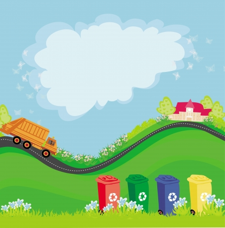 segregation: segregation of garbage, abstract card with the ecological landscape