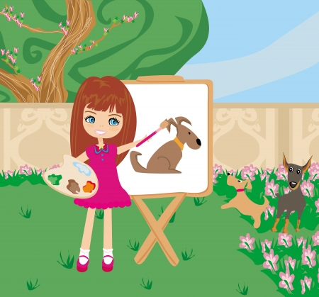 Little artist girl painting dog on large paper canvas  Vector