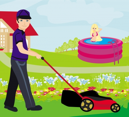 mowing the lawn: A vector illustration of a man mowing the lawn  Illustration
