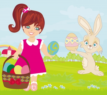 sweet girl and  Easter Bunny  Vector
