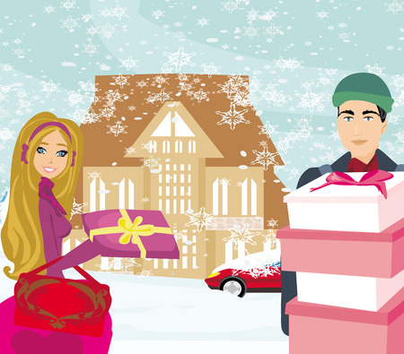 Christmas shopping on a snowy day Illustration