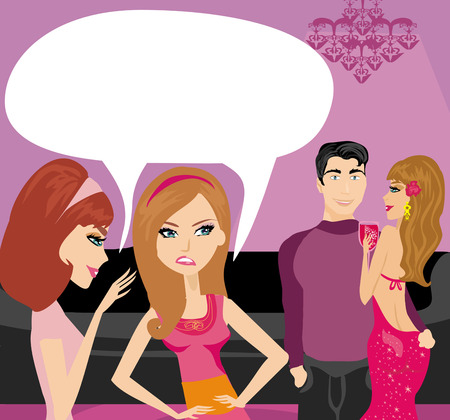 envious: girls gossiping about a pair of lovers