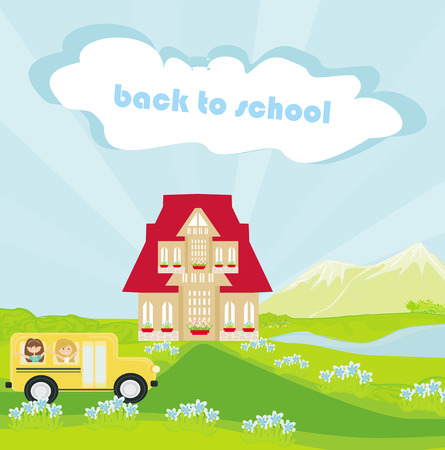 Illustration of a school bus heading to school with happy children  Vector
