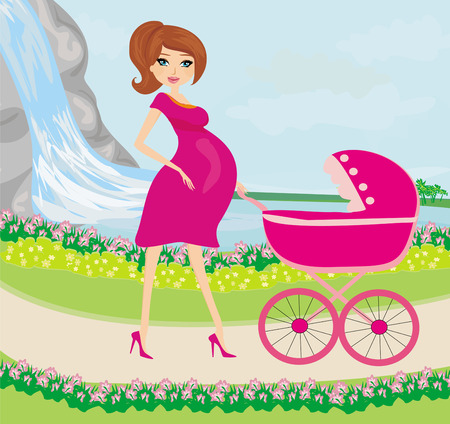 beautiful pregnant woman pushing a stroller with her daughter  Vector