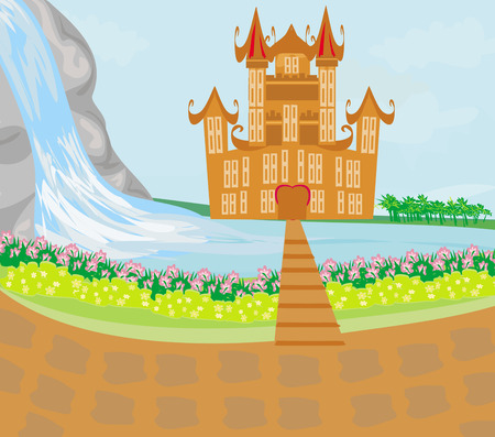 Panorama with medieval castle.  Vector