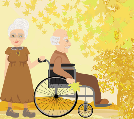 Senior couple in autumn day  Vector
