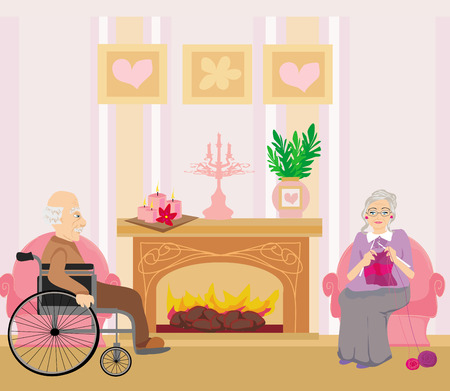 happy older couple: Senior couple resting at home