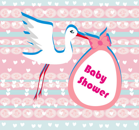 Baby shower greeting card  Vector