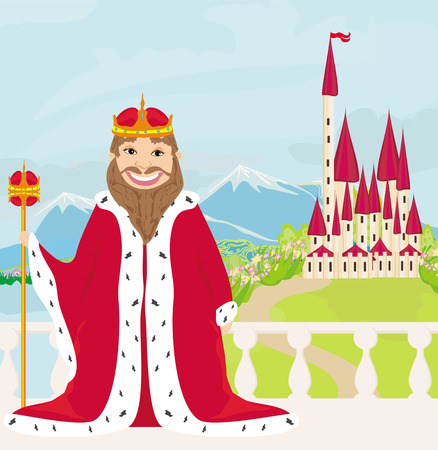 reign: smiling King looks at the castle