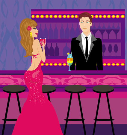bartender gives drinks a beautiful woman Vector