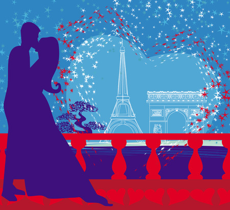 Romantic couple in Paris kissing near the Eiffel Tower  Vector