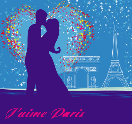 couple in love in Paris Vector