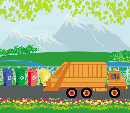 segregation of garbage card Vector