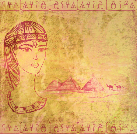cleopatra: old paper with Egyptian queen