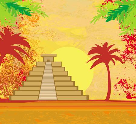 Mayan Pyramid, Chichen-Itza, Mexico - grunge abstract background Vector