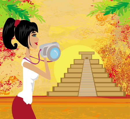tourist photographs Mayan Pyramid Vector