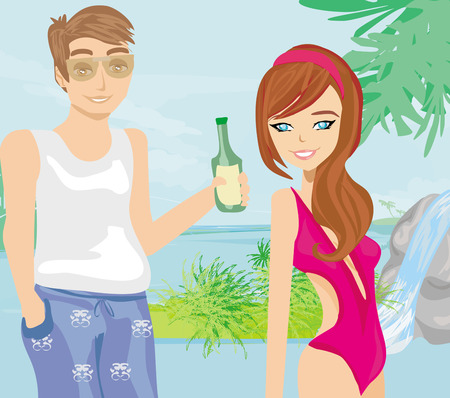 cascade mountains: Young couple flirt in a tropical landscape Illustration