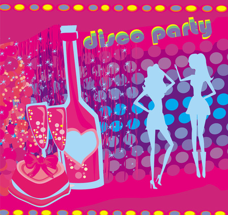 background disco party - drinks, entertainment and dancing Vector