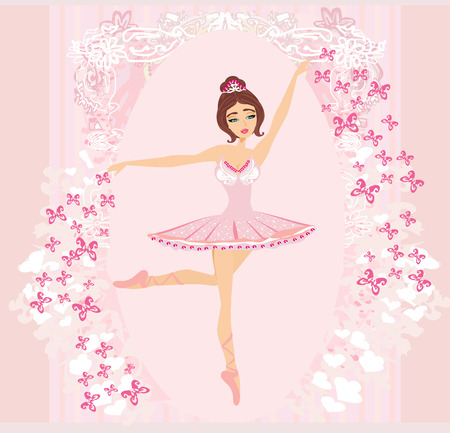 Beautiful ballerina - abstract card with butterflies and pink ornaments Illustration