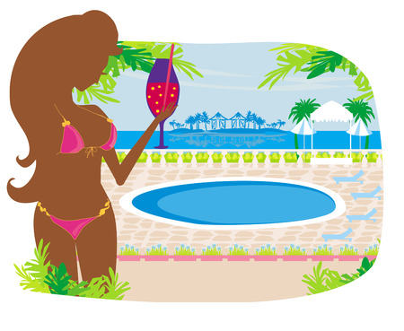 girl with a drink on tropical pool Vector