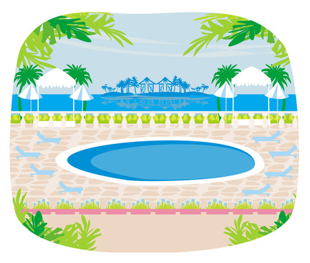 Relaxing tropical swimming pool. Illustration