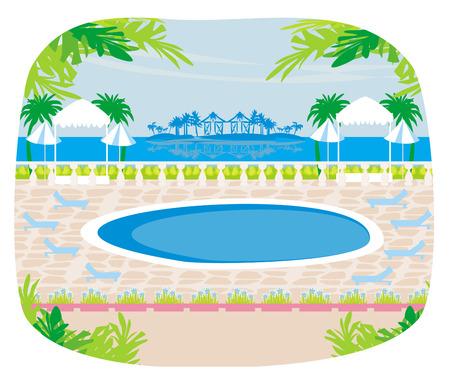 Relaxing tropical swimming pool. Vector
