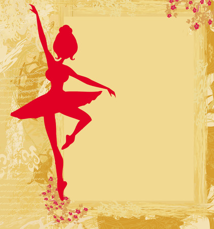 Beautiful ballerina in the background grunge  Vector