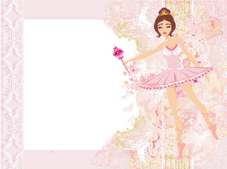 Beautiful ballerina - abstract card with flower frame Vector