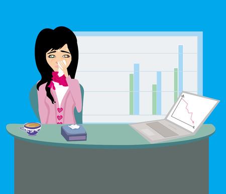 sick malady: sick secretary working