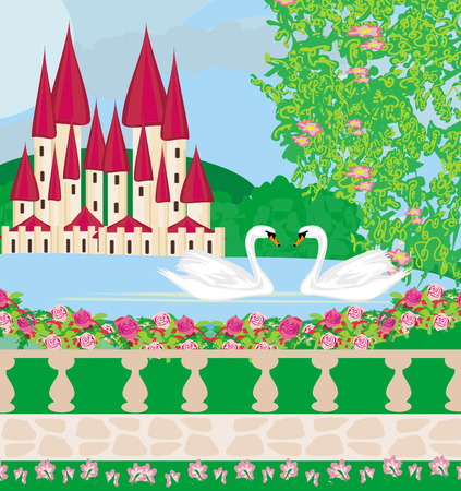 landscape with a beautiful castle , gardens and two swans Stock Vector - 25966188