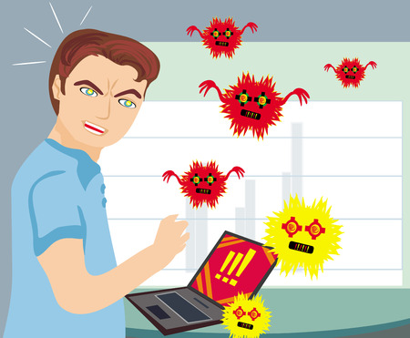Computer virus attacking laptop  Stock Vector - 25966190
