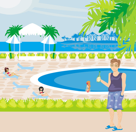 Tourists at the pool Vector