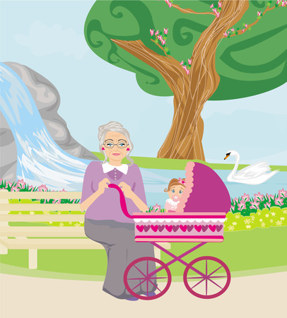 grandmother with her granddaughter for a walk in the park Vector
