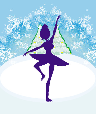 figure skater: Abstract card with a silhouette of a female figure skater Illustration